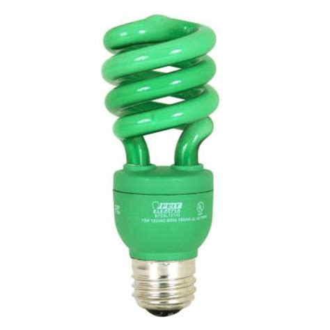 feit electric 60w equivalent green spiral cfl light bulb