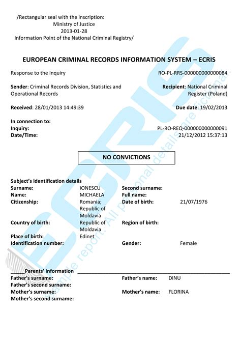 Criminal Record Record Criminal Record Check From Central Criminal Records Ecris