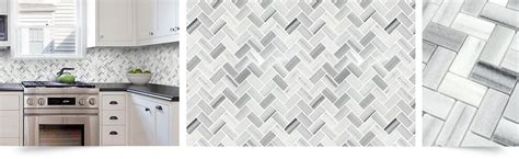 Black Kitchen Backsplash by White Gray Herringbone Mosaic Kitchen Backsplash