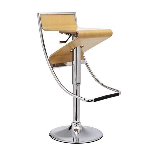 wood and chrome bar stools zig zag futuristic adjustable wood panel bar stool w