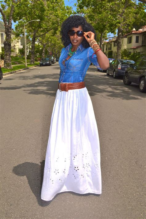 style pantry denim shirt white maxi skirt