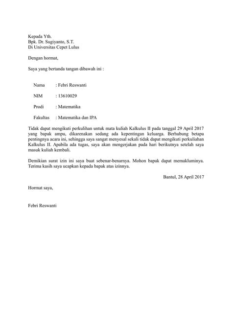 Contoh Surat Izin Sekolah by Contoh Surat Izin Kuliah Yang Baik Dan Benar