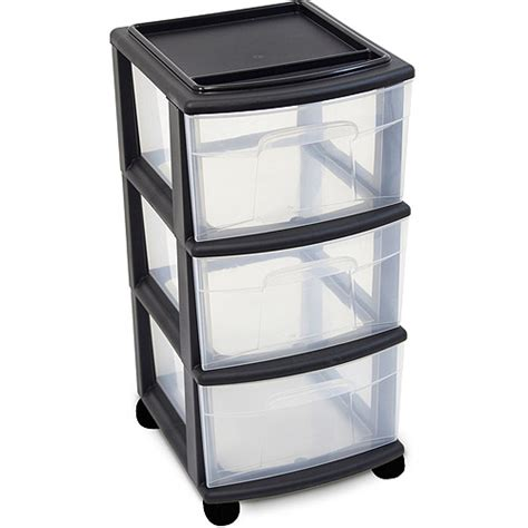 storage bins with drawers walmart sterilite 3 drawer wide cart black walmart