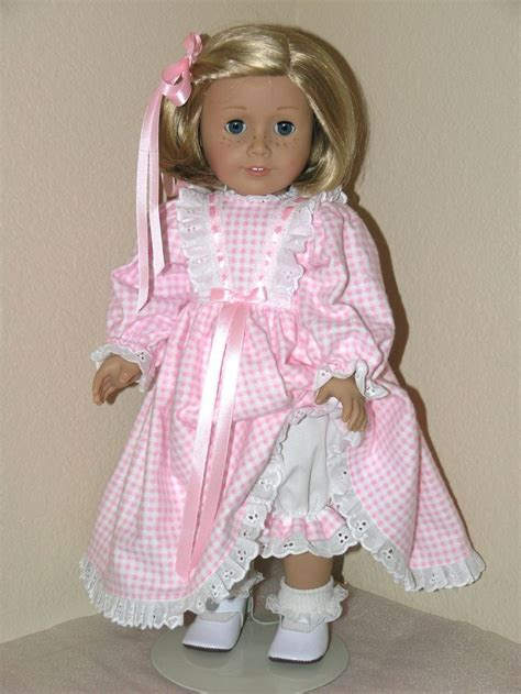 clothes pattern for dolls flannel nightgown pajamas pink check american girl doll