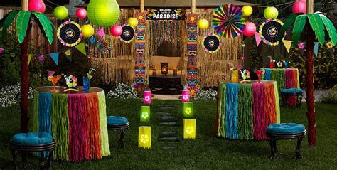 hawaiian table decorations ideas luau decorations hanging wall decorations party city