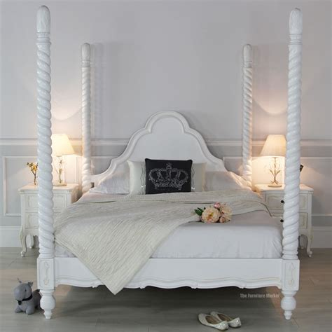 four poster bed white room home decor amp interior exterior