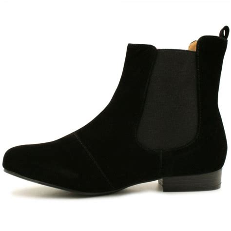 womens black suede style chelsea flat ankle boots from