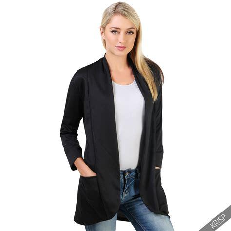 Preloved Cardigan Blazer Biru Fashion womens oversize waterfall boyfriend open blazer cardigan jacket coat plus ebay