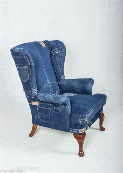 Denim Armchair denim wingback armchair knoll sofa chair