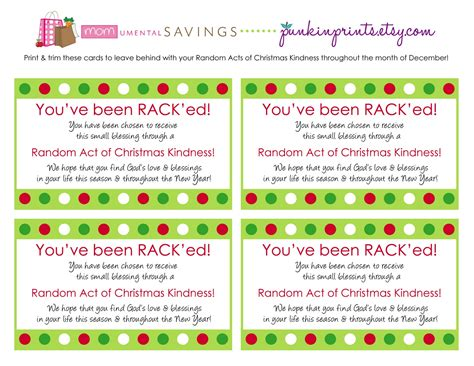 kindness cards template momumental savings random acts of kindness