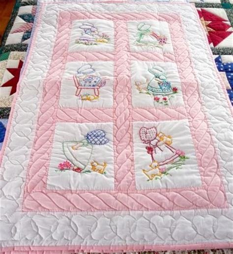 Handmade Baby Quilt Patterns - handmade amish baby quilt embroidered sun bonnet sue