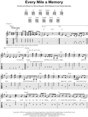 Dierks Bentley Every Mile A Memory Dierks Bentley Quot Every Mile A Memory Quot Guitar Tab