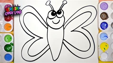 draw color paint butterfly coloring page for to learn painting