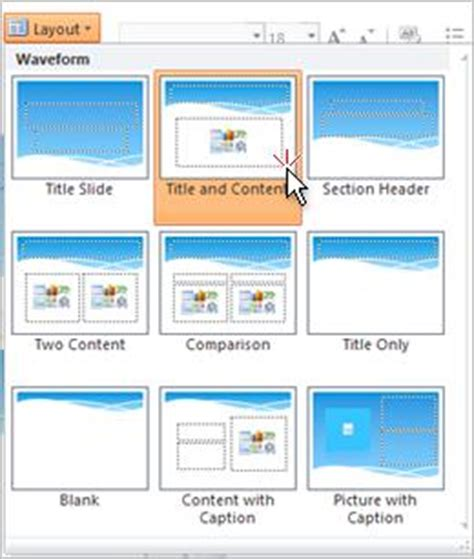 change layout of presentation apply or change a slide layout powerpoint