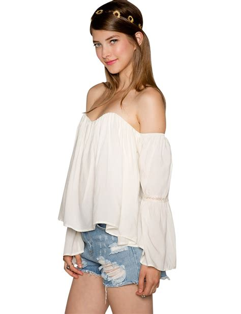 Bell Sleeve Shoulder Top white the shoulder top lace bell sleeve top 46
