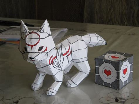 Amaterasu Papercraft - chibi amaterasu and companion cube papercraft by ericgant