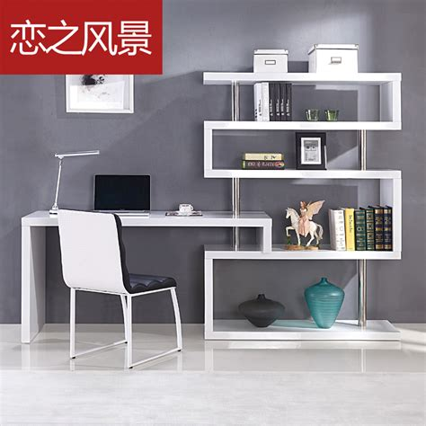 minimalist corner desk floating landscape modern minimalist white paint shelves
