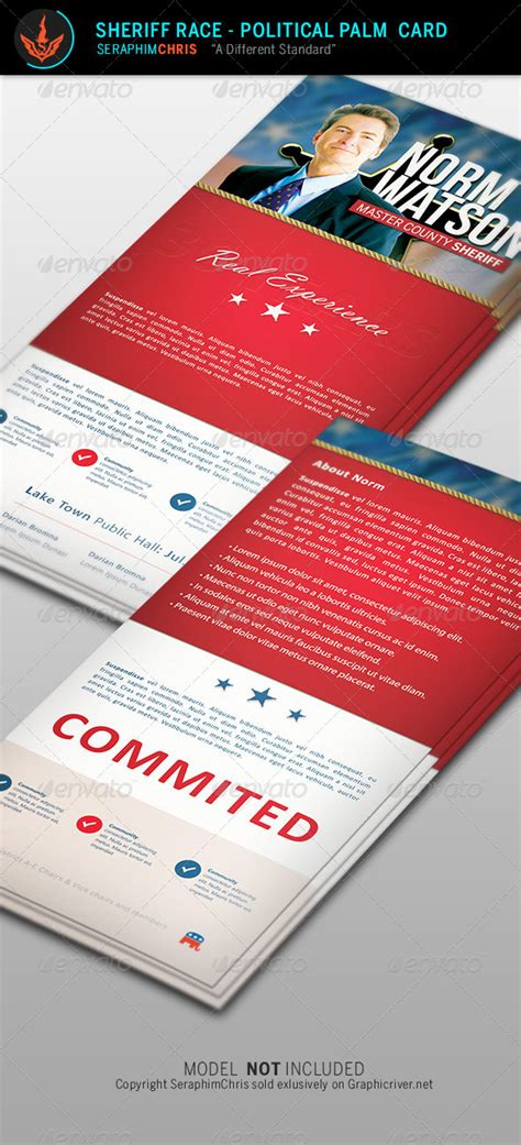 palm cards templates sheriff race political palm card template by