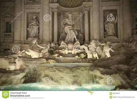 lit baroque trevi rome italy stock photo image 69105600