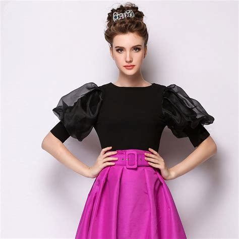 vintage lantern sleeve blouse brand fashion design organza tops retro size s xl