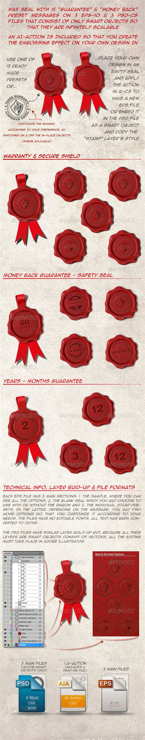 back to back warranty stock vector graphicriver 15 wax seal warranty guaranty