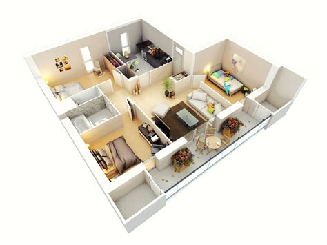 Small House Floorplans 25 more 3 bedroom 3d floor plans architecture amp design