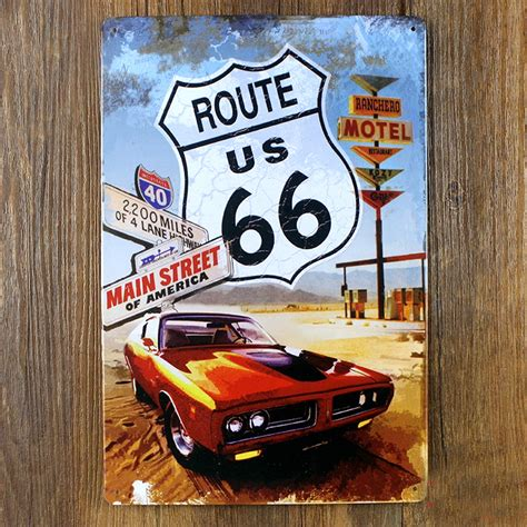 route 66 home decor vintage motorcycle metal painting retro route 66 tin sign