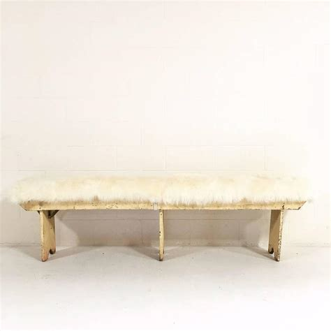 sheepskin bench vintage walnut farmhouse bench with sheepskin cushion at