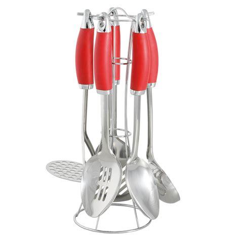 ustensiles cuisine inox pr 233 sentoir en m 233 tal avec 5 ustensiles de cuisine en inox