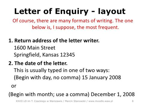 layout of an enquiry letter letter of enquiry