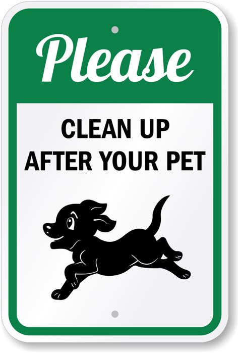 up your signs clean up after your pet sign puppy running graphic sku k 0421