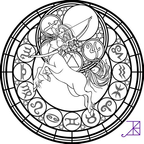 Zodiac Coloring Pages zodiac sagittarius stained glass coloring page by akili