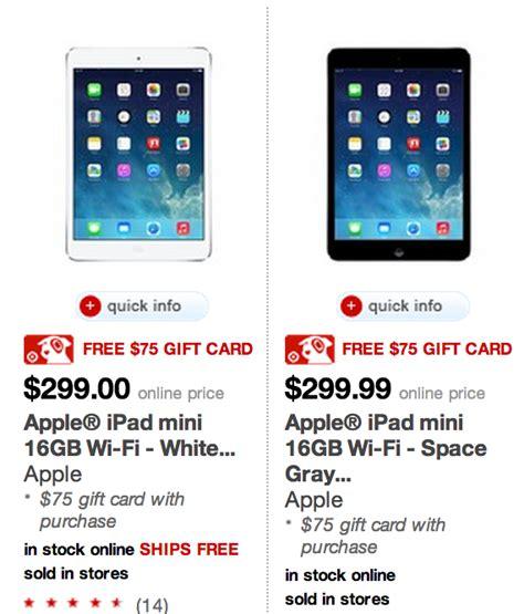 Ipad Target Gift Card - apple ipad mini 299 with free 75 target gift card hurry freebies2deals