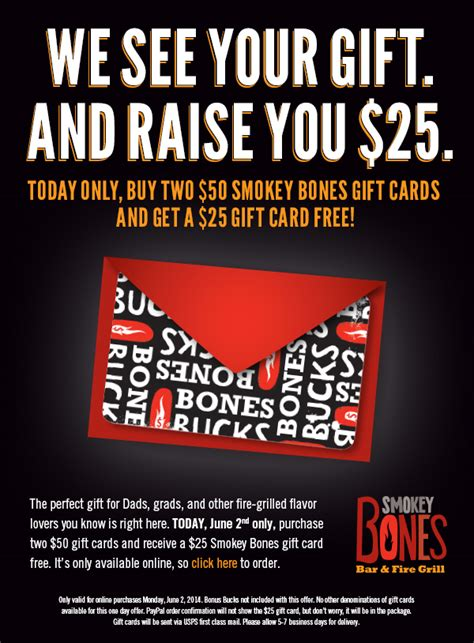 today only buy 2 50 smokey bones gift cards get 25 back mission to save - Smokey Bones Gift Card
