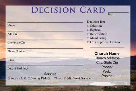 Decision Card Template visitor cards printing calvary publishing