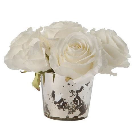 White Roses In Vase by Faux White Roses In Mercury Glass Vase