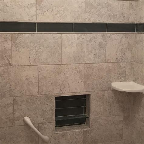 custom ceramic tile tub surround and tile floor