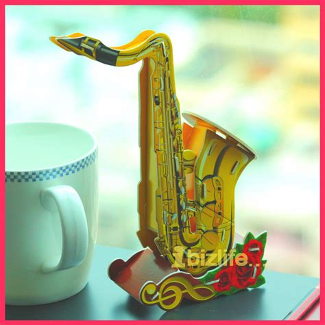 calebou saxophone musical paper 3d puzzle diy simple