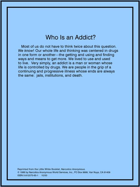 Who Is The Addict by Readings Central Coast Area Narcotics Anonymous