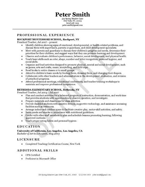 resume exles for teachers with experience resume exles for early childhood teachers resume