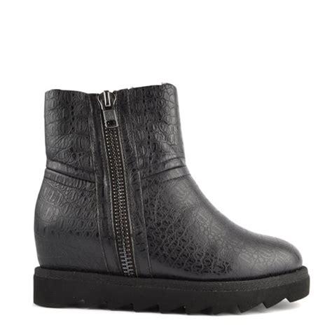 ash yang black croco shearling wedge ankle boot