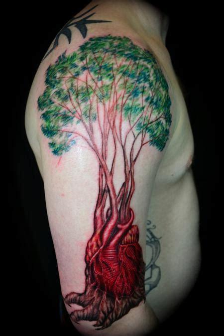 heartbeat tattoo arm anatomical heart tattoo on arm of man tattooshunt com