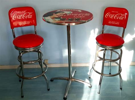 sgabelli coca cola authentic coca cola pub set quot of two stools with table