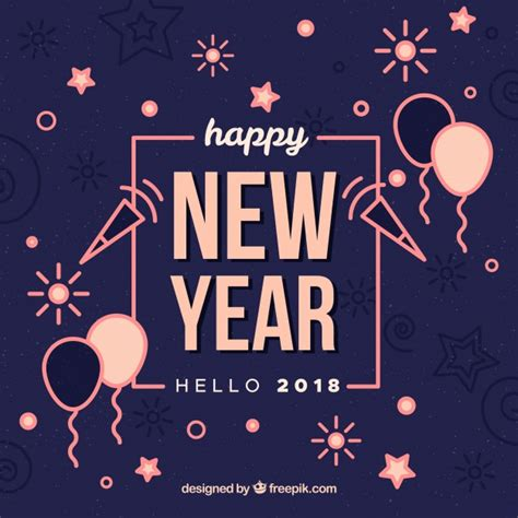 new year element vector free hello new year 2018 background with pink elements vector