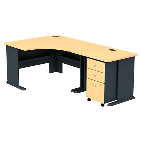 corner desk bush series a corner desk with mobile filing cabinet
