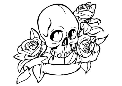 free skulls roses coloring pages
