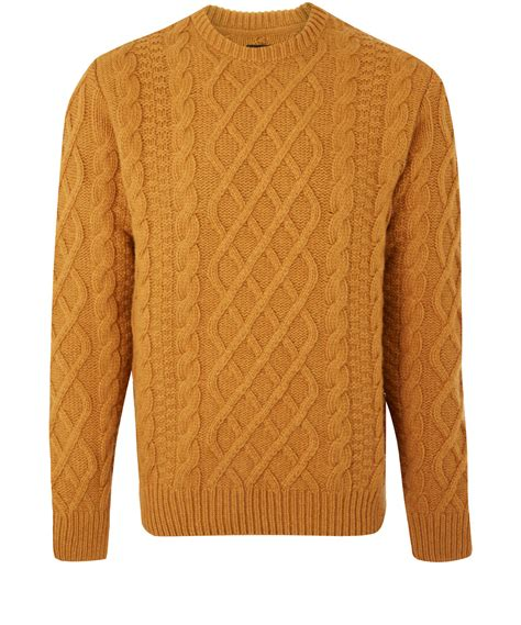 knit jumper barbour cable knit jumper in orange for lyst