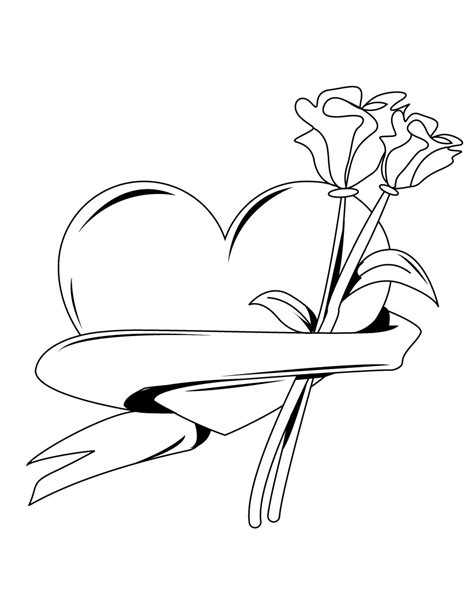 Drawings Of Hearts And Roses Clipart Best Roses And Hearts Coloring Pages 2