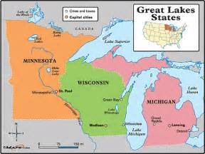 united states map 5 great lakes great lakes states map by maps from maps world