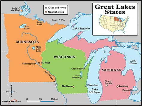 the great lakes world map great lakes states map by maps from maps world